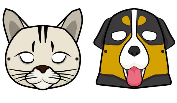 犬と猫のお面